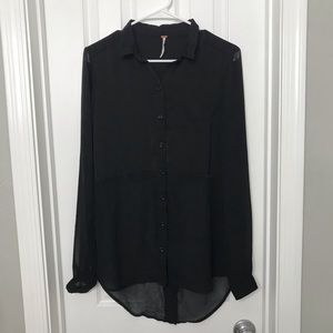 Free People Black Button Down Sheer Blouse